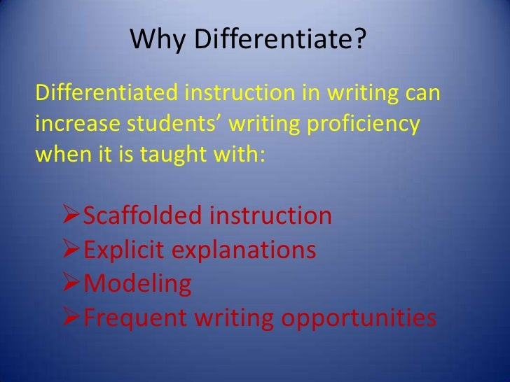 differentiated instruction essay papers Essay topic: the educational evaluation of the tasks and purposes of differentiated instruction and its effect on students essay questions: what is differentiated.