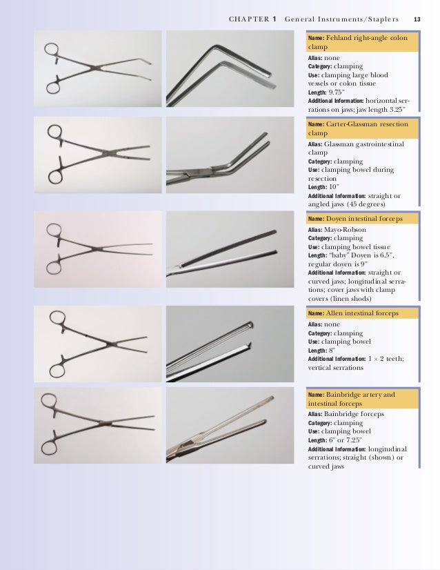 14 CHAPTER 1 General Instruments/Staplers GENERAL CUTTING Name: operating room scissors Alias: none Category: cutting Leng...