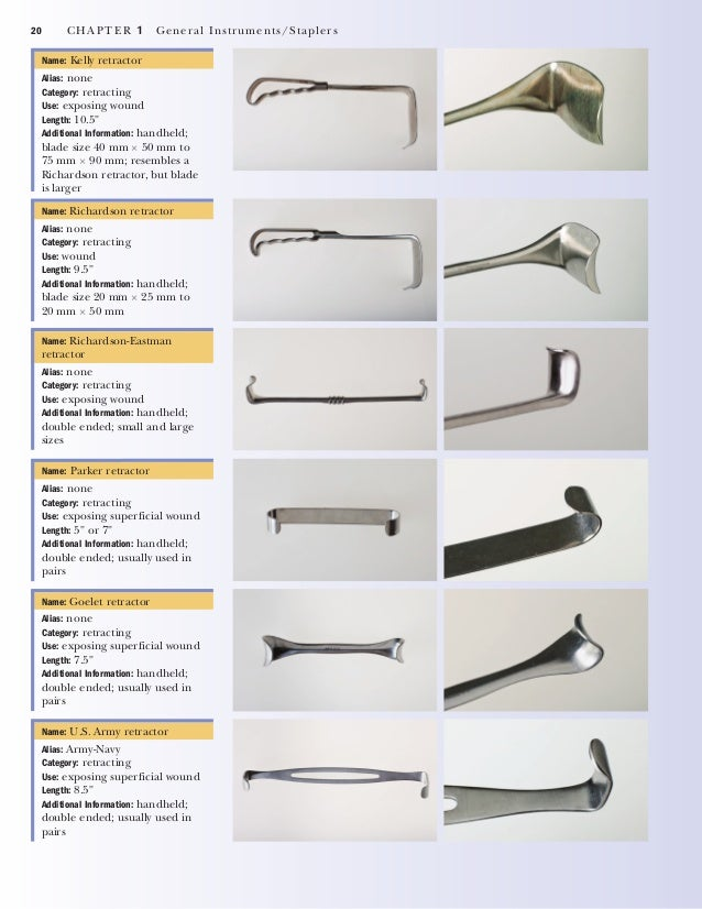 CHAPTER 1 General Instruments/Staplers 21 Name: Senn retractor Alias: none Category: retracting Use: exposing superficial ...