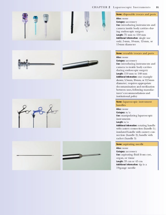 32 CHAPTER 2 Laparoscopic Instruments Name: suture passer Alias: none Category: suturing Use: transmural suturing of wound...