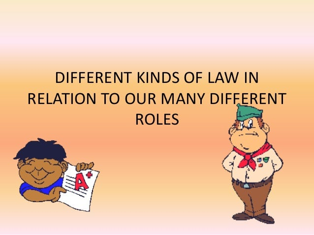 DIFFERENT KINDS OF LAW IN RELATION TO OUR MANY DIFFERENT ROLES