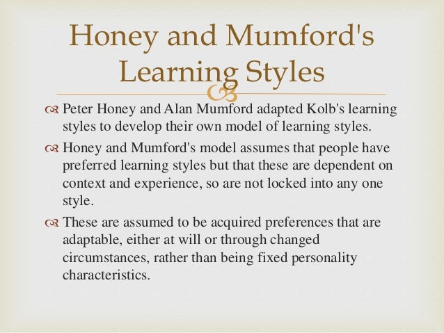 Learning Styles and Competencies