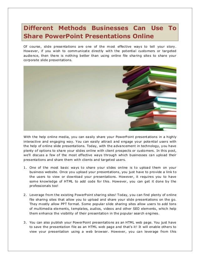 different methods businesses can use to share power point presentatio
