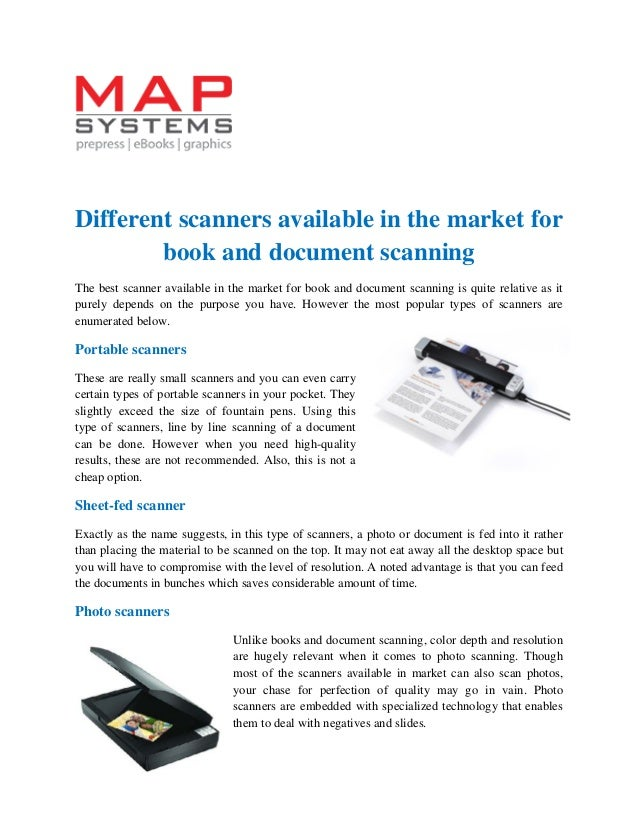 Different scanners available in the market for book and document scan…