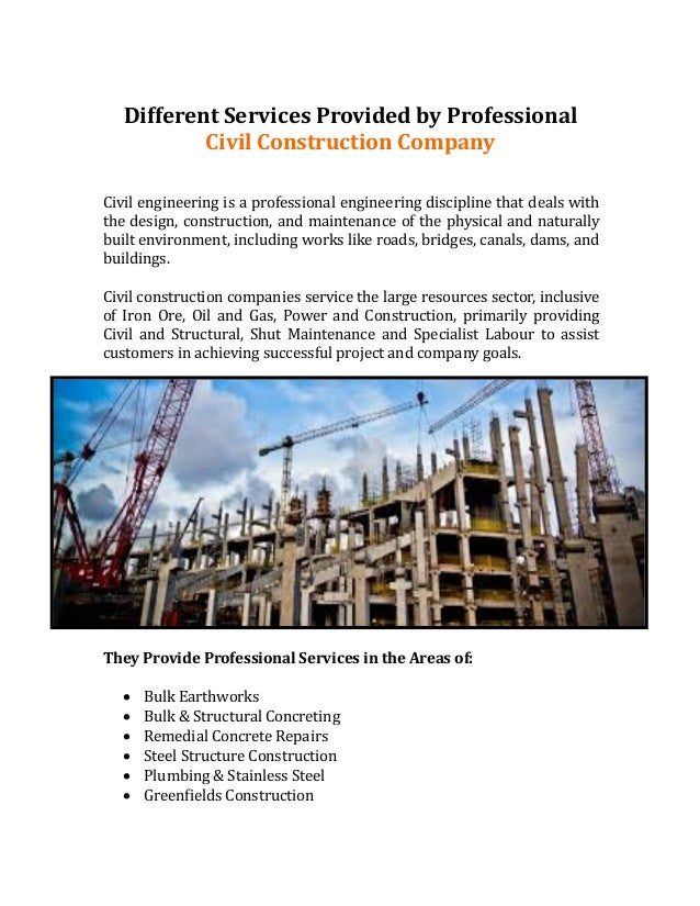 different services provided by professional civil