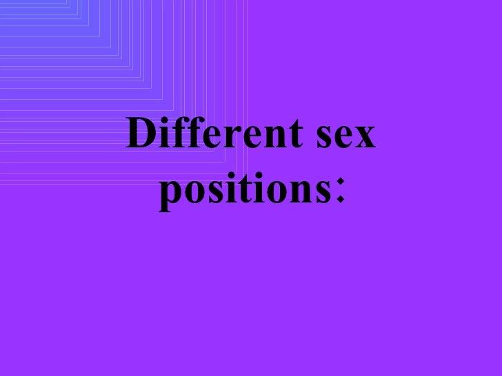 differemt sex positions