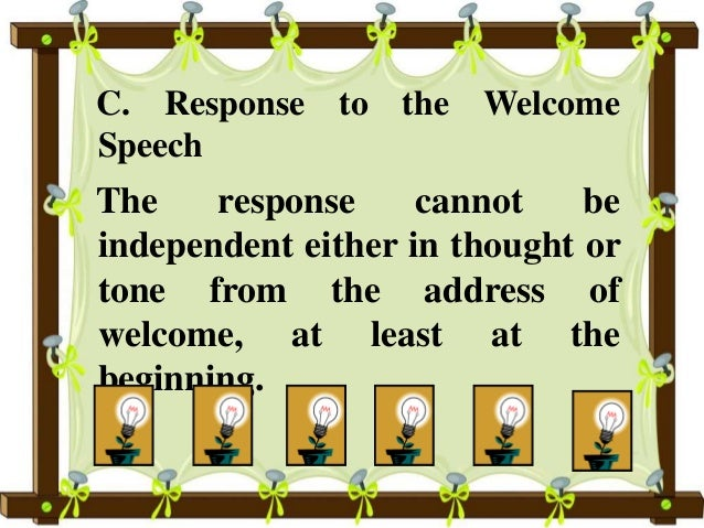 Response To A Welcome Speech Examples