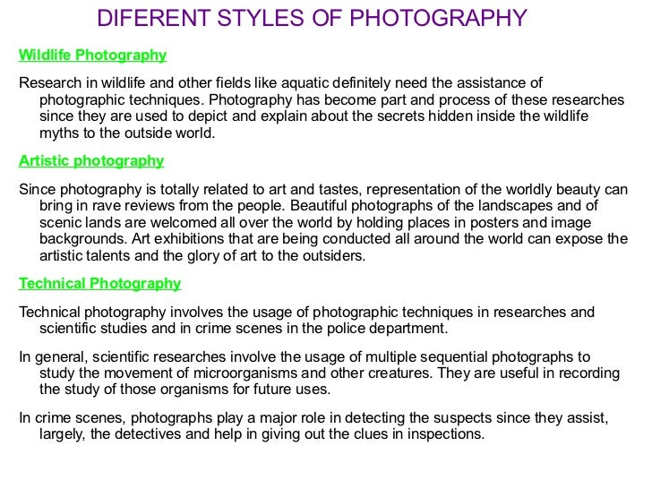 Different Styles And Types Of Photography For Record