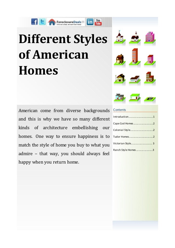 Different Stylesof AmericanHomesAmerican come from diverse backgrounds           Contents                                 ...