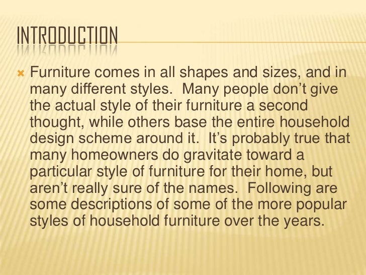 Different styles of furniture through the years