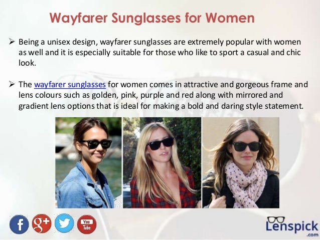 Wayfarer Sunglasses for Women  Being a unisex design, wayfarer sunglasses are extremely popular with women as well and it...