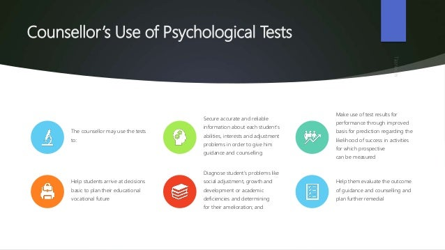 Different type of test for the purpose of counselling