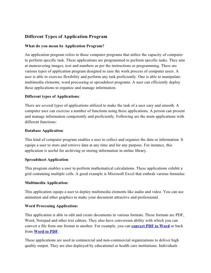 Different Types Of Application Program