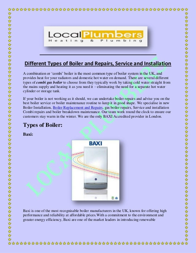 Different Types of Boiler and Repairs, Service and Installation
