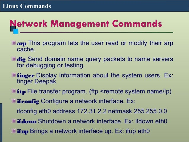 Different types of Commands used in Linux Network Management