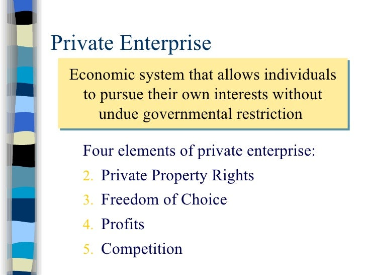 Private Enterprise Economic system that allows individuals to pursue their own interests without undue governmental restri...