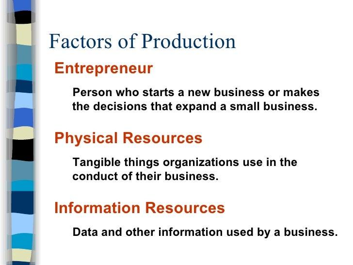 Factors of Production <ul><li>Entrepreneur </li></ul><ul><ul><li>Person who starts a new business or makes the decisions t...