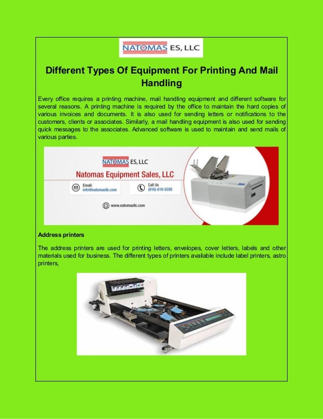 Different Types Of Equipment For Printing And Mail Handling