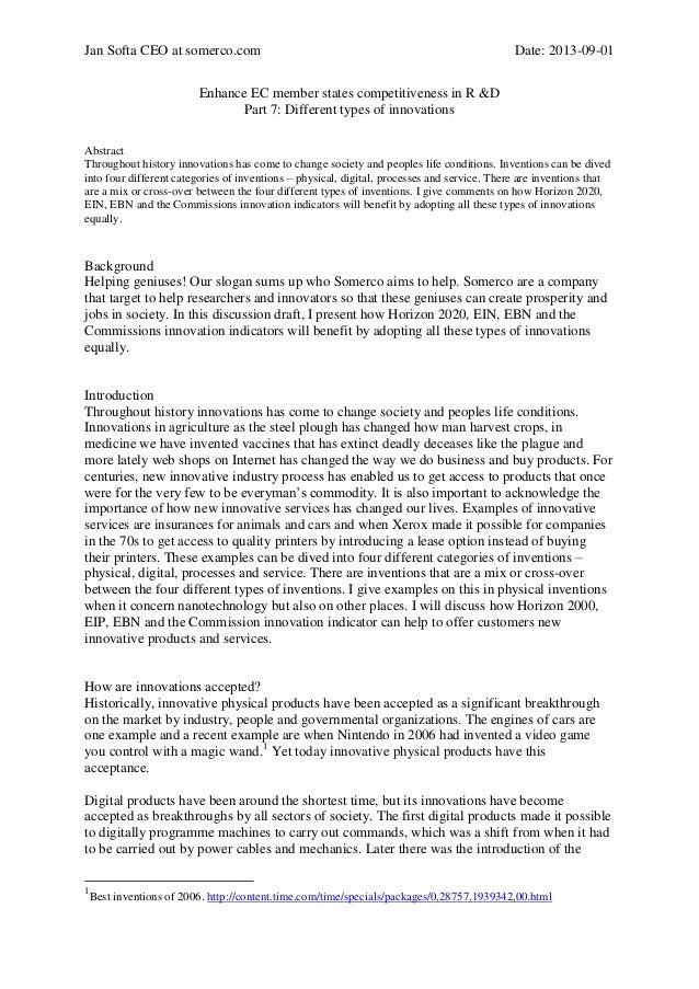 Jan Softa CEO at somerco.com  Date: 2013-09-01  Enhance EC member states competitiveness in R &D Part 7: Different types o...