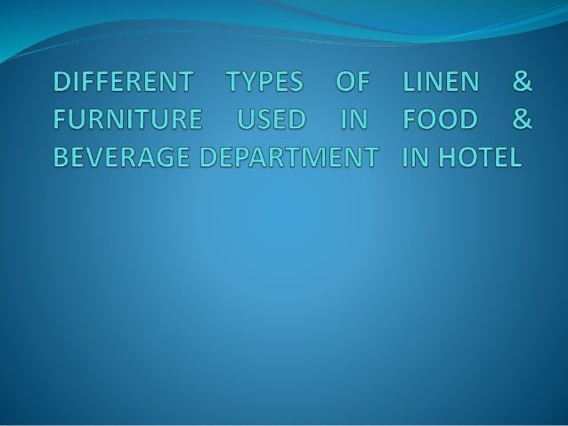 types of linen used in hotels pdf