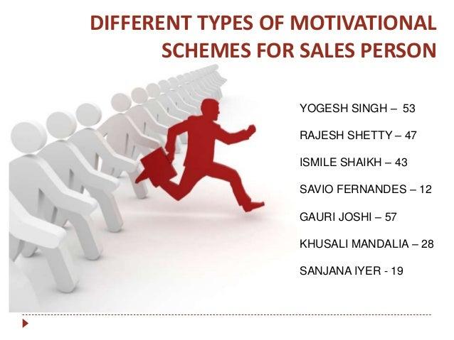 DIFFERENT TYPES OF MOTIVATIONAL SCHEMES FOR SALES PERSON YOGESH SINGH – 53 RAJESH SHETTY – 47 ISMILE SHAIKH – 43 SAVIO FER...