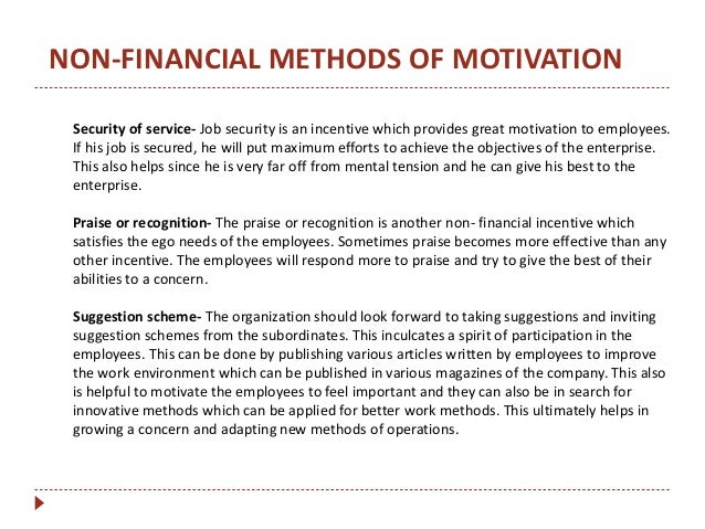 Different types of motivational schemes for sales person