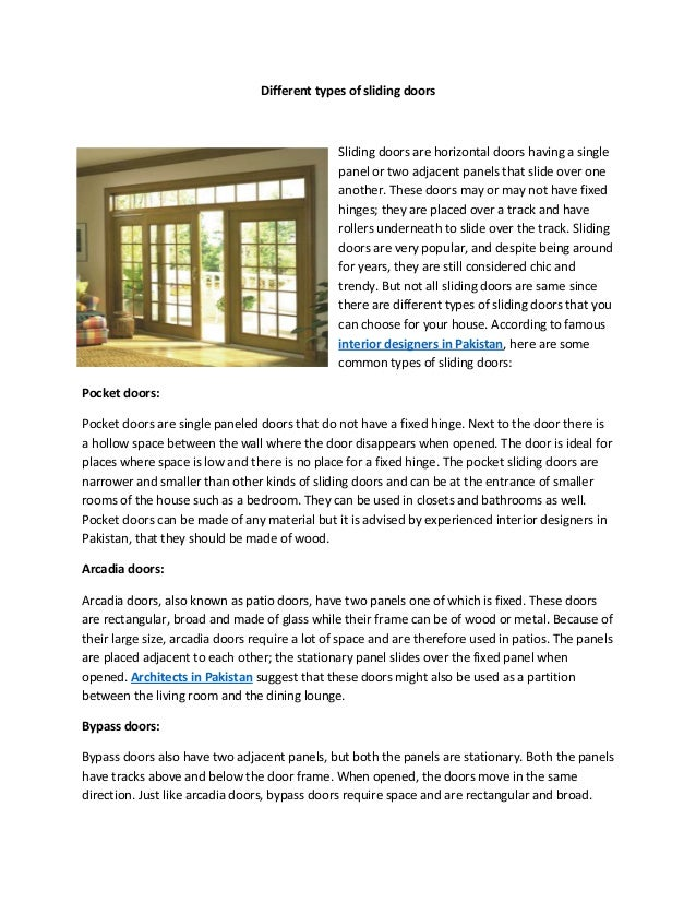 Different Types Of Sliding Doors