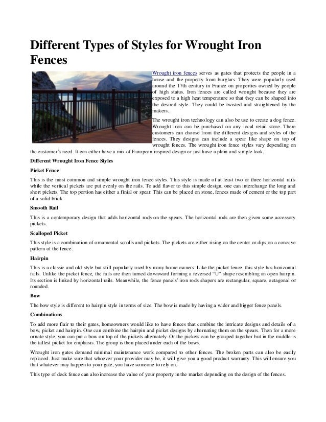 Types Of Iron ~ Different types of styles for wrought iron fences