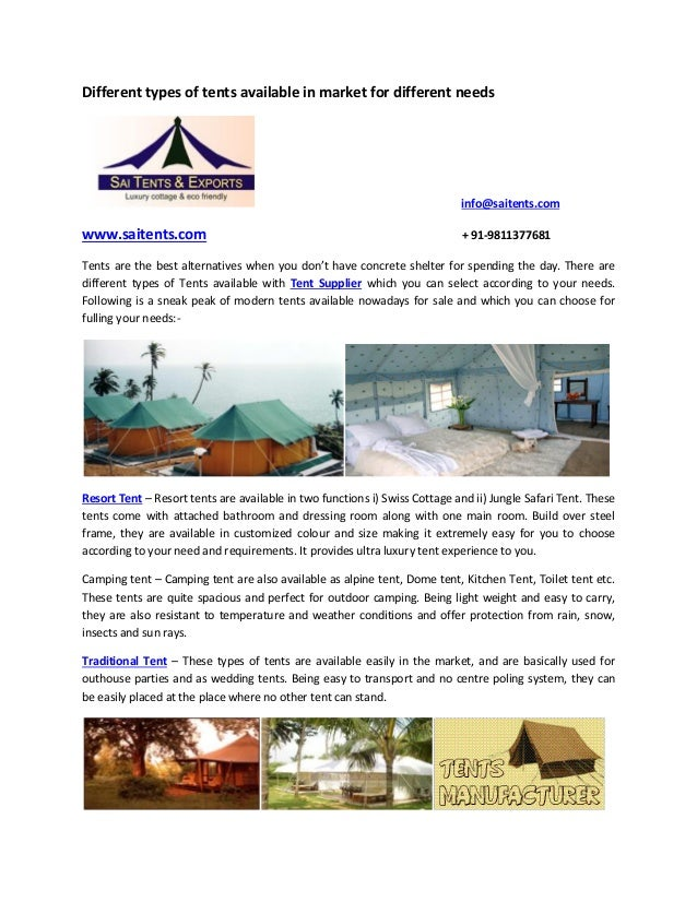 Different types of tents available in market for different ...