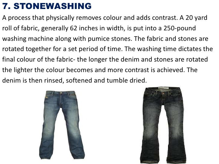 7. STONEWASHINGA process that physically removes colour and adds contrast. A 20 yardroll of fabric, generally 62 inches in...