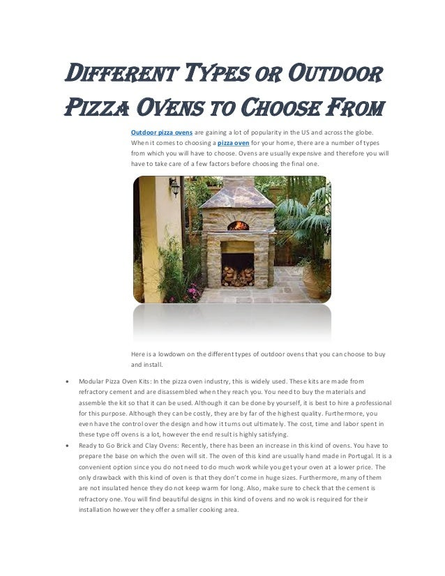 Different types or outdoor pizza ovens to choose from