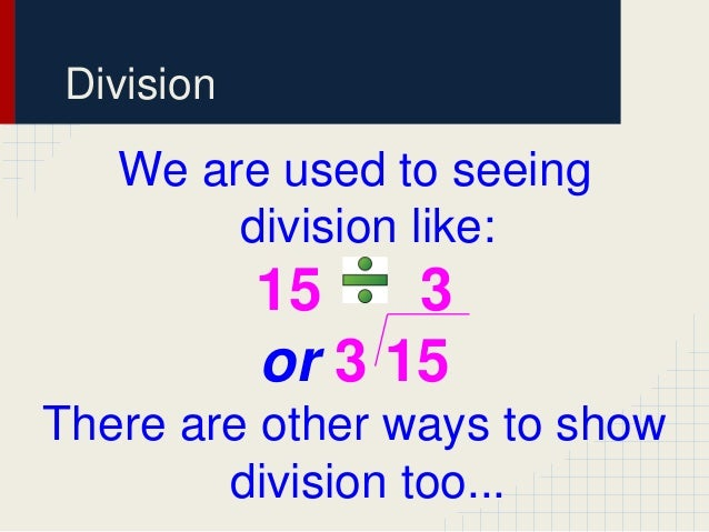 Different ways to write multiplication and division