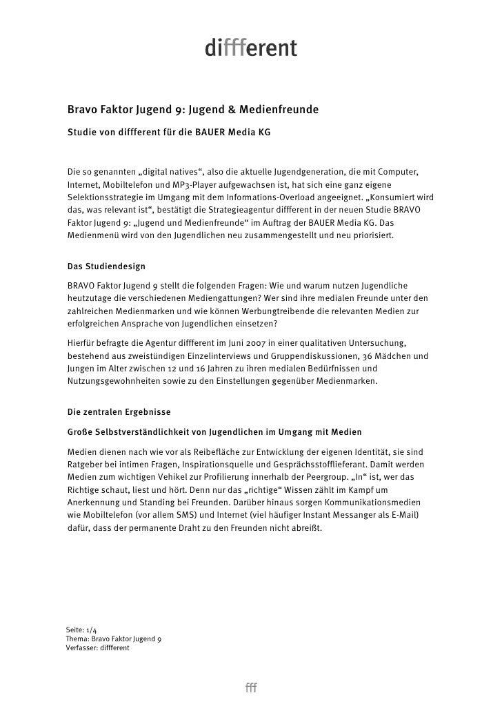 """Bravo Faktor Jugend 9: Jugend & Medienfreunde Studie von diffferent für die BAUER Media KG   Die so genannten """"digital nat..."""