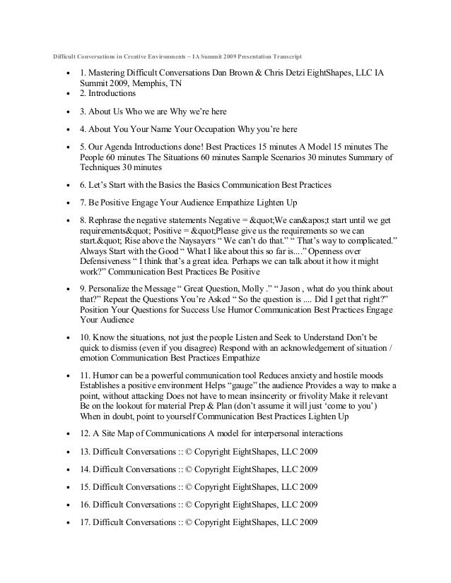Difficult Conversations in Creative Environments ~ IA Summit 2009 Presentation Transcript • 1. Mastering Difficult Convers...