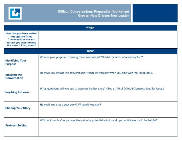 Difficult Conversations Planning Template