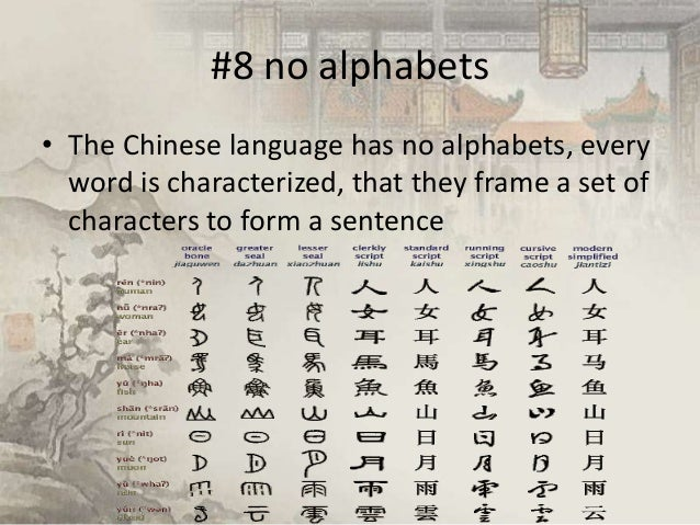 #8 no alphabets • The Chinese language has no alphabets, every word is characterized, that they frame a set of characters ...
