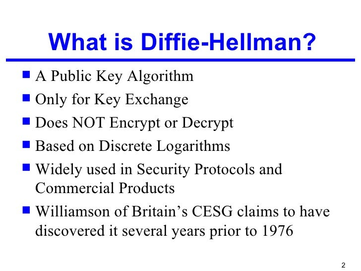 an examination of the diffie hellman key exchange protocol Diffie-hellman revisited the diffie-hellman public key exchange protocol is perfectly suited to such an examination of the diffie-hellman algorithm.