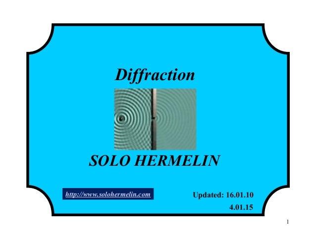 1 Diffraction SOLO HERMELIN Updated: 16.01.10 4.01.15 http://www.solohermelin.com