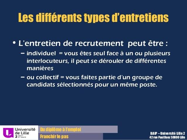 Du diplôme à l'emploi Franchir le pas Les différents types d'entretiens • L'entretien de recrutement peut être : – individ...