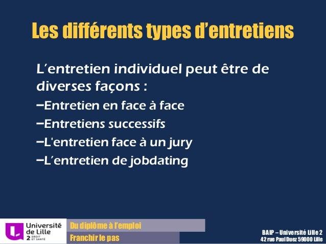 Du diplôme à l'emploi Franchir le pas Les différents types d'entretiens L'entretien individuel peut être de diverses façon...