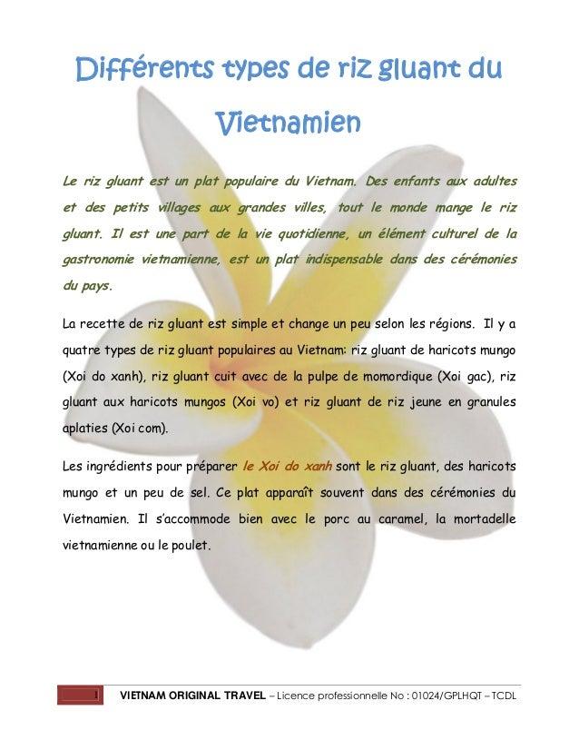1 VIETNAM ORIGINAL TRAVEL – Licence professionnelle No : 01024/GPLHQT – TCDL Différents types de riz gluant du Vietnamien ...