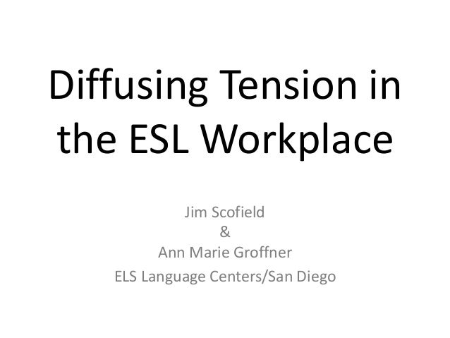 Diffusing Tension inthe ESL Workplace            Jim Scofield                 &         Ann Marie Groffner   ELS Language ...