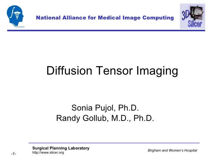 Diffusion Tensor Imaging Sonia Pujol, Ph.D. Randy Gollub, M.D., Ph.D. National Alliance for Medical Image Computing