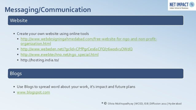 Messaging/Communication Website  • Create your own website using online tools    • http://www.webdesigningahmedabad.com/fr...