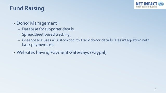 Fund Raising •   Donor Management :     –   Database for supporter details     –   Spreadsheet based tracking     –   Gree...