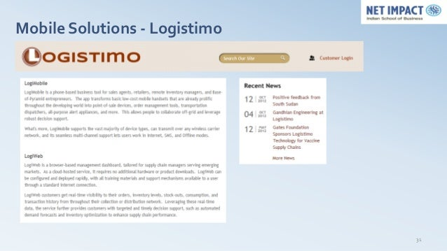 Mobile Solutions - Logistimo                               31