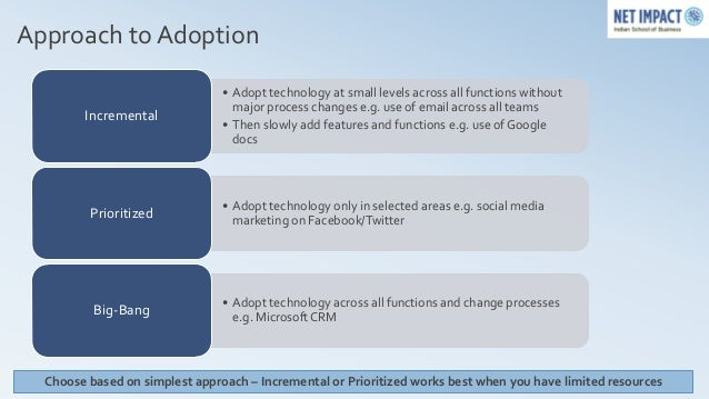 Approach to Adoption                                • Adopt technology at small levels across all functions without       ...