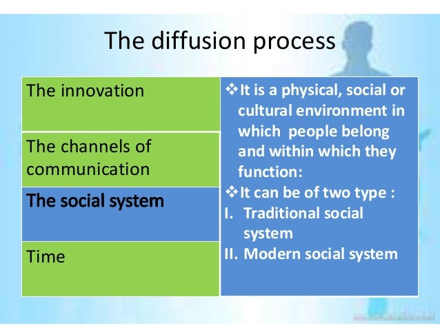 The diffusion processThe innovation     It is a physical, social or                      cultural environment in         ...