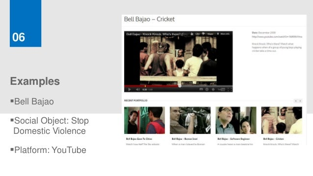 06ExamplesBell BajaoSocial Object: StopDomestic ViolencePlatform: YouTube