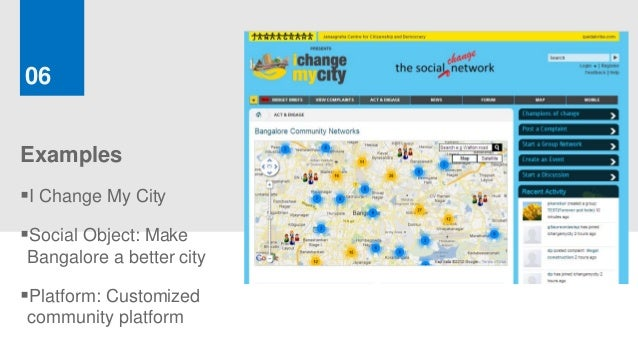 06ExamplesI Change My CitySocial Object: MakeBangalore a better cityPlatform: Customizedcommunity platform